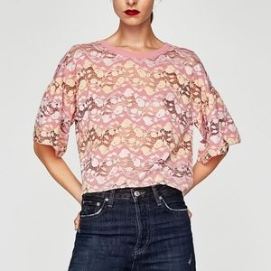 ZARA Lace Bell Sleeve Tee Pink/Yellow/White S NWT